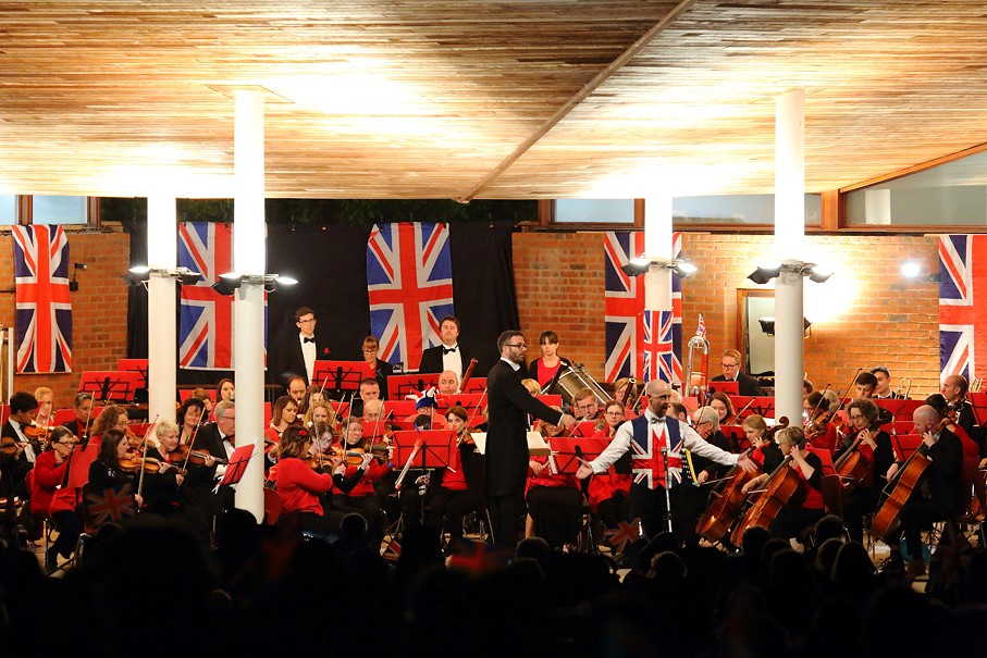 Proms concert with flags